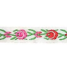 "Red and Pink Floral Folk Costume Trim ~ Vintage Japan ~ 3/8"" wide ~ Poly"