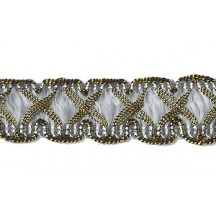 "Fancy Decorative Sewing Trim in Metallic Gold and Palest Blue ~ 5/8"" wide"