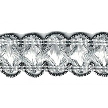 "Fancy Decorative Sewing Trim in Metallic Silver and White ~ 5/8"" wide"
