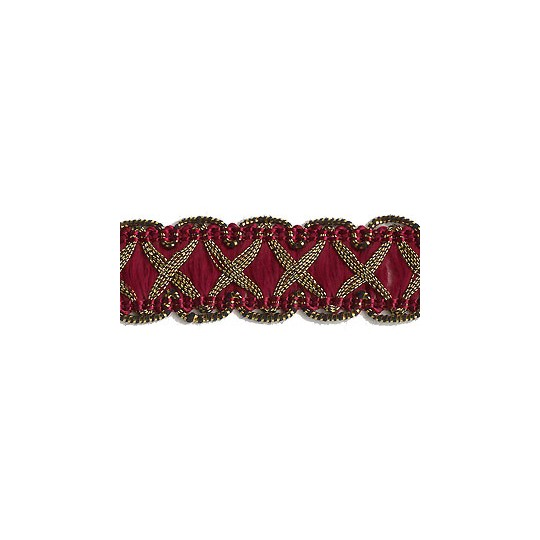 "Fancy Decorative Sewing Trim in Metallic Gold and Burgundy ~ 5/8"" wide"