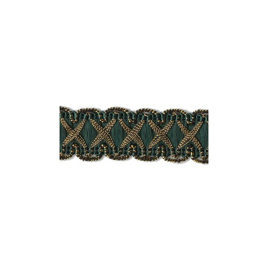 "Fancy Decorative Sewing Trim in Metallic Gold and Dark Green ~ 5/8"" wide"
