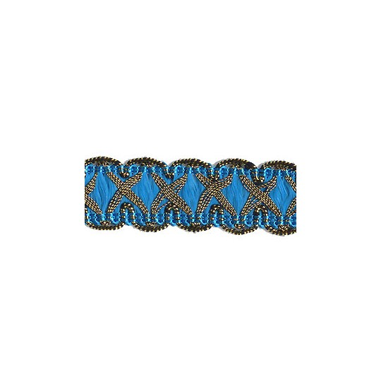 "Fancy Decorative Sewing Trim in Metallic Gold and Electric Blue ~ 5/8"" wide"