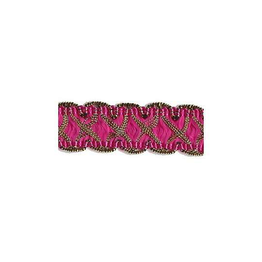 "Fancy Decorative Sewing Trim in Metallic Gold and Hot Pink ~ 5/8"" wide"