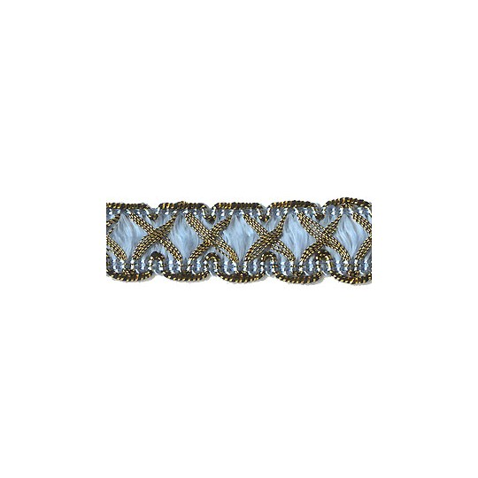 "Fancy Decorative Sewing Trim in Metallic Gold and Light Blue ~ 5/8"" wide"