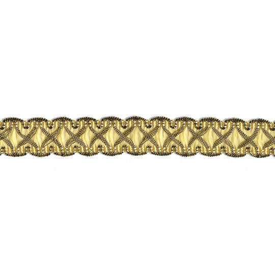 """Fancy Decorative Sewing Trim in Metallic Gold and Light Yellow ~ 5/8"""" wide"""