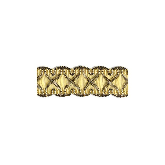 "Fancy Decorative Sewing Trim in Metallic Gold and Light Yellow ~ 5/8"" wide"