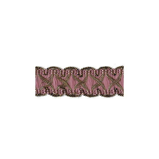"Fancy Decorative Sewing Trim in Metallic Gold and Mauve ~ 5/8"" wide"