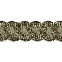 "Fancy Decorative Sewing Trim in Metallic Gold and Sage Green ~ 5/8"" wide"