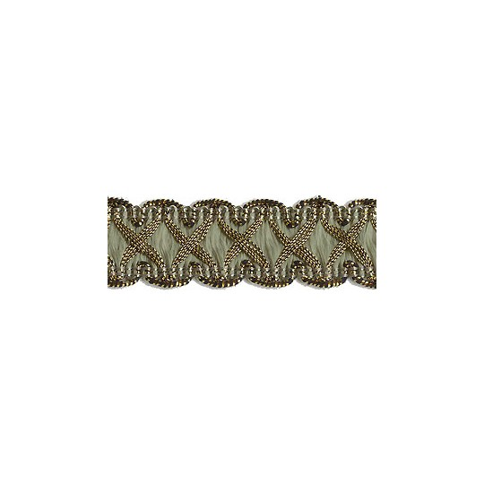 """Fancy Decorative Sewing Trim in Metallic Gold and Sage Green ~ 5/8"""" wide"""