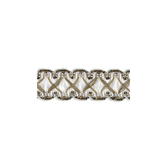 "Fancy Decorative Sewing Trim in Metallic Gold and White ~ 5/8"" wide"