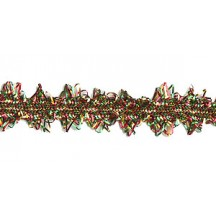"Scalloped Fancy Decorative Trim in Metallic Red, Gold and Green Mix ~ 1/2"" wide"