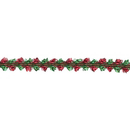 """Scalloped Fancy Decorative Trim in Metallic Red and Green ~ 1/2"""" wide"""