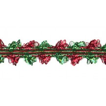 "Scalloped Fancy Decorative Trim in Metallic Red and Green ~ 1/2"" wide"
