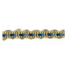 "Petite Fancy Decorative Trim in Metallic Gold and Blue ~ 1/4"" wide"