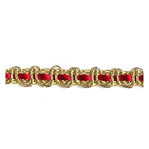"Petite Fancy Decorative Trim in Metallic Gold and Red ~ 1/4"" wide"