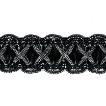 "Fancy Decorative Sewing Trim in Metallic Silver and Black ~ 5/8"" wide"