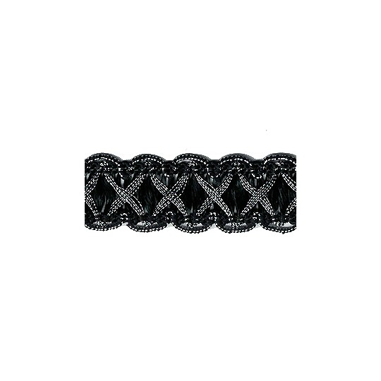 """Fancy Decorative Sewing Trim in Metallic Silver and Black ~ 5/8"""" wide"""