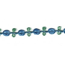 Old Store Stock Rosebud Trim in Cornflower Blue & Green