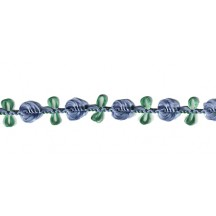 Old Store Stock Rosebud Trim in Violet Blue & Green