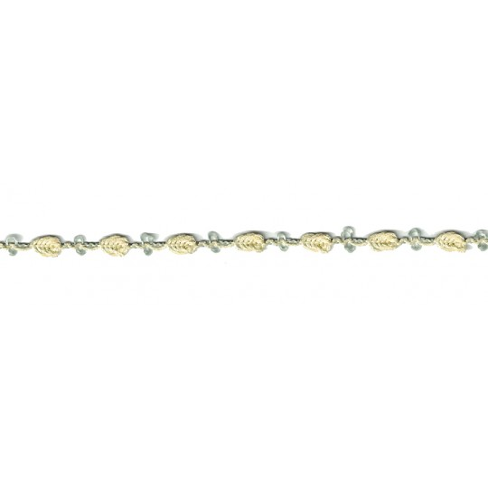 Old Store Stock Rosebud Trim in Pale Yellow & Green