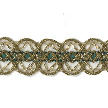Old Store Stock Gold and Dark Green Extra Fancy Trim ~ Vintage
