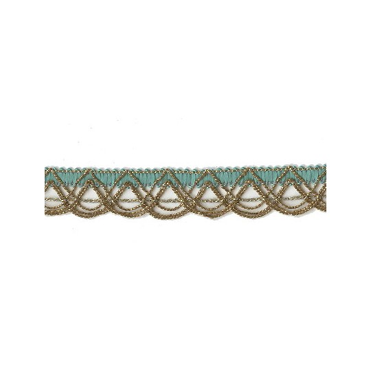 Old Store Stock Gold and Aqua Extra Fancy Looped Trim ~ Vintage