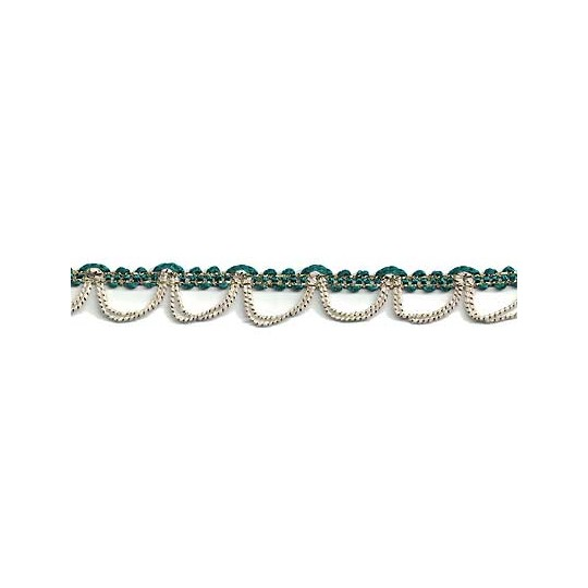 Fancy Green, Gold & Ivory Looped Woven Braid ~ Vintage Old Store Stock
