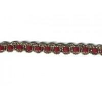 Old Store Stock Gold and Burgundy Woven Braid Trim ~ Vintage