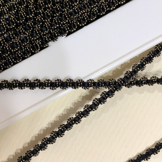 "Old Stock Fancy Woven Trim in Metallic Old Gold + Black~ 3/16"" wide"
