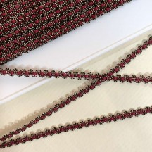 "Old Stock Fancy Woven Trim in Metallic Old Gold + Burgundy ~ 3/16"" wide"