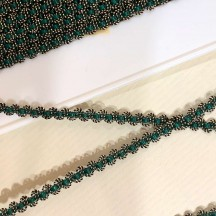 "Old Stock Fancy Woven Trim in Metallic Old Gold + Green ~ 3/16"" wide"