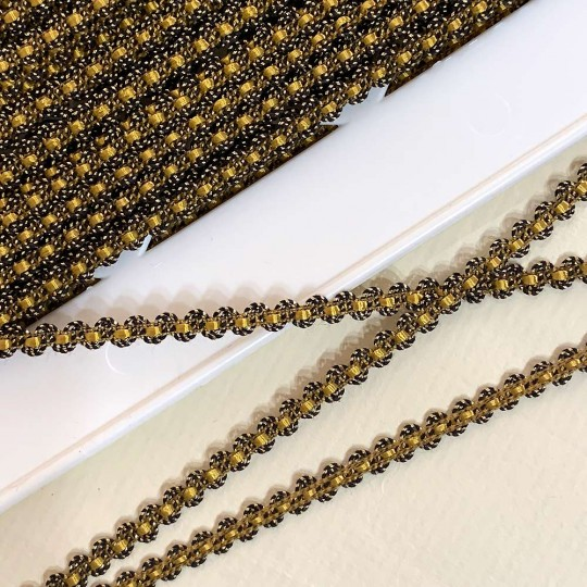 "Old Stock Fancy Woven Trim in Metallic Old Gold + Golden Yellow ~ 3/16"" wide"