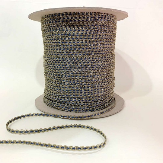 """Old Stock Fancy Woven Trim in Metallic Old Gold + Navy Blue ~ 3/16"""" wide"""