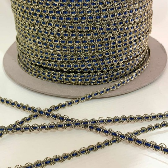 "Old Stock Fancy Woven Trim in Metallic Old Gold + Navy Blue ~ 3/16"" wide"