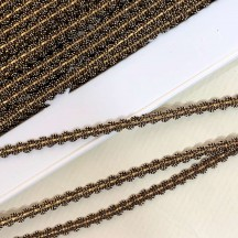 "Old Stock Fancy Woven Trim in Old Gold + Metallic Gold ~ 3/16"" wide"