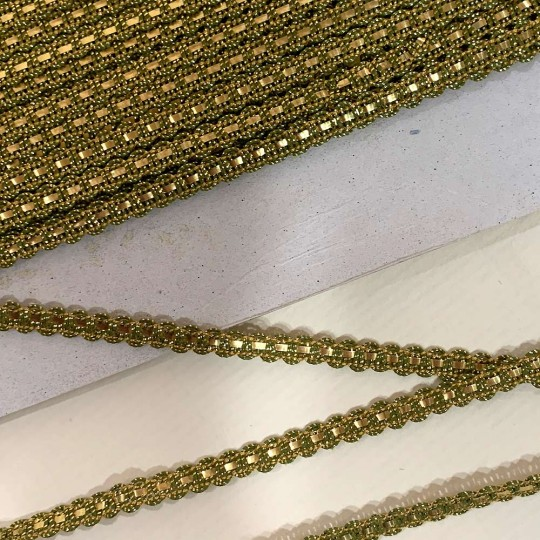 "Old Stock Fancy Woven Trim in Bright Gold + Metallic Gold ~ 1/4"" wide"