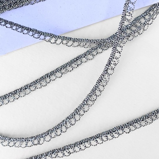 "Petite Fancy Loop Edge Trim in Metallic Old Silver ~ 1/8"" wide"