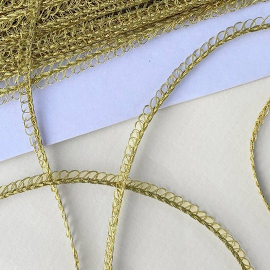 "Petite Fancy Loop Edge Trim in Metallic Gold ~ 1/8"" wide"