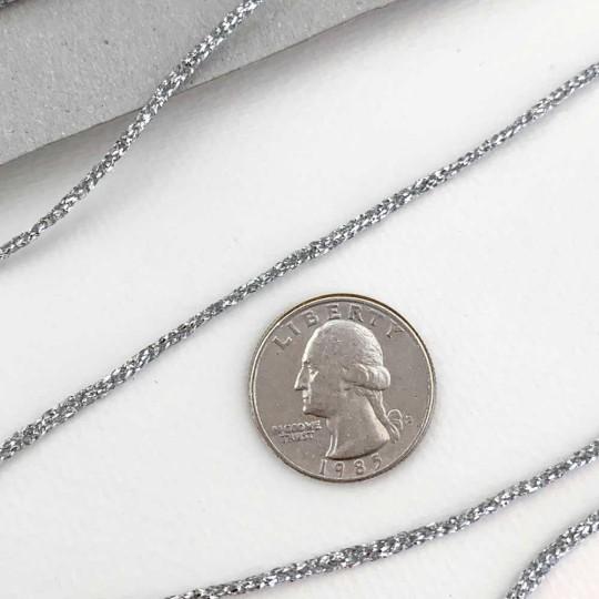 """Narrow Fancy Metallic Silver Cord ~ 1/16"""" wide"""