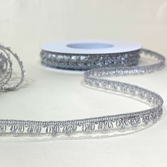 "Fancy Metallic Looped Fringe in Silver ~ 3/8"" wide ~ Germany"