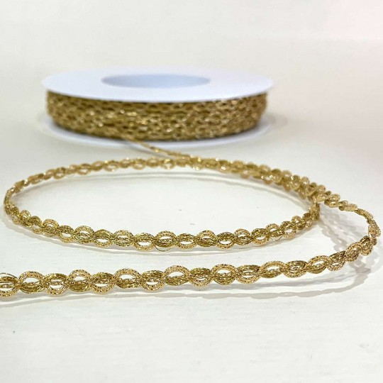 "Fancy Metallic Wavy Trim in Bright Gold ~ 3/16"" wide ~ Germany"