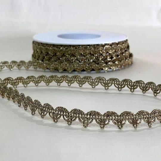 """Fancy Metallic Scalloped Trim in Antique Gold ~ 3/8"""" wide ~ Germany"""