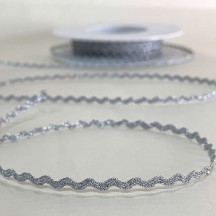"Tiny Fancy Metallic Ric Rac in Silver ~ 1/8"" wide ~ Germany"