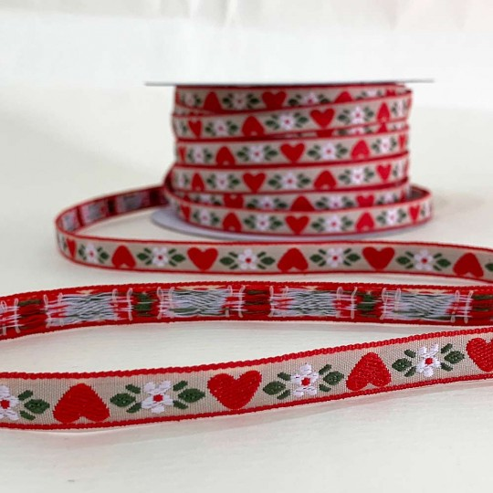 "Heart and Flower Woven Trim ~ Germany ~ 3/8"" wide"