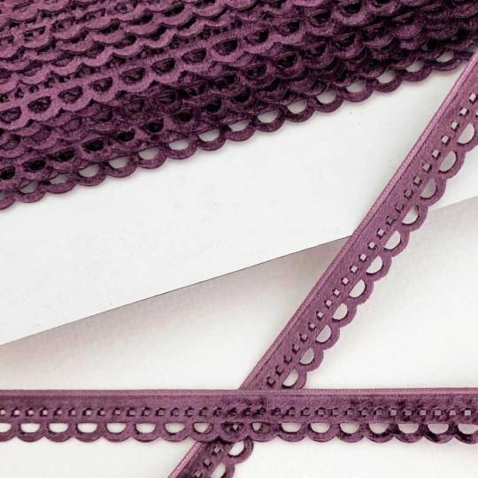 "Soft Velvet Openwork Ribbon Trim in Deep Violet Purple ~ 7/16"" wide"