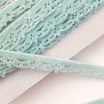 """Soft Velvet Openwork Scalloped Ribbon Trim in Light Blue ~ 1/2"""" wide"""