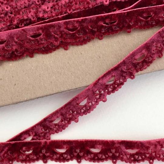 """Soft Velvet Openwork Scalloped Ribbon Trim in Burgundy ~ 1/2"""" wide"""