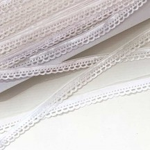 "Soft Velvet Openwork Ribbon Trim in White ~ 7/16"" wide"