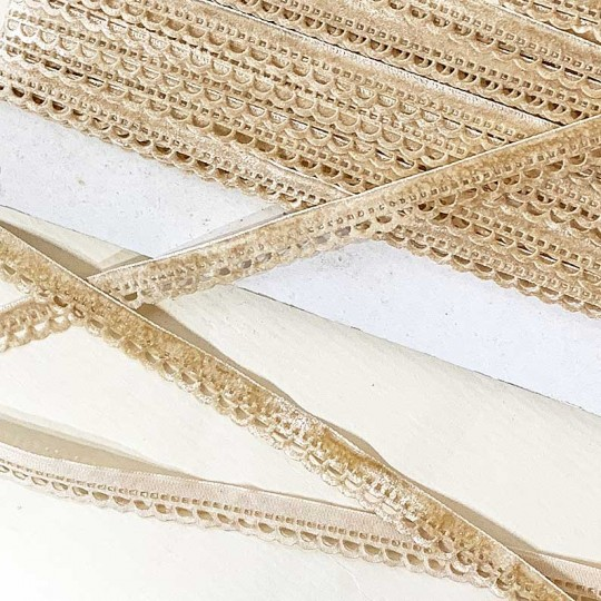 "Soft Velvet Openwork Ribbon Trim in Light Tan ~ 7/16"" wide"