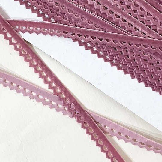 "Soft Velvet Openwork Ribbon Trim in Dusty Rose Pink ~ 7/16"" wide"